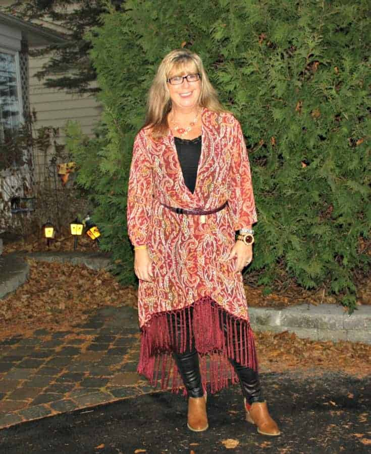 Casual work look in a Target Fringe Kimono
