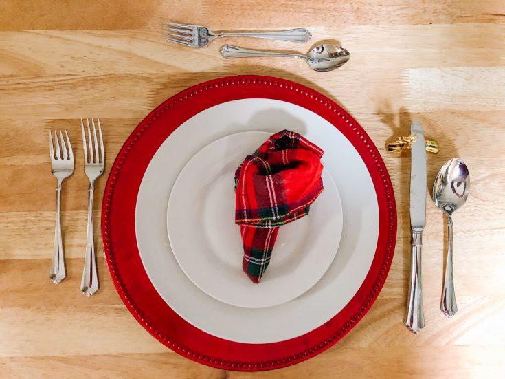 overhead of elf shoe napkin on a plate