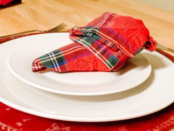 elf shoe napkin on a plate