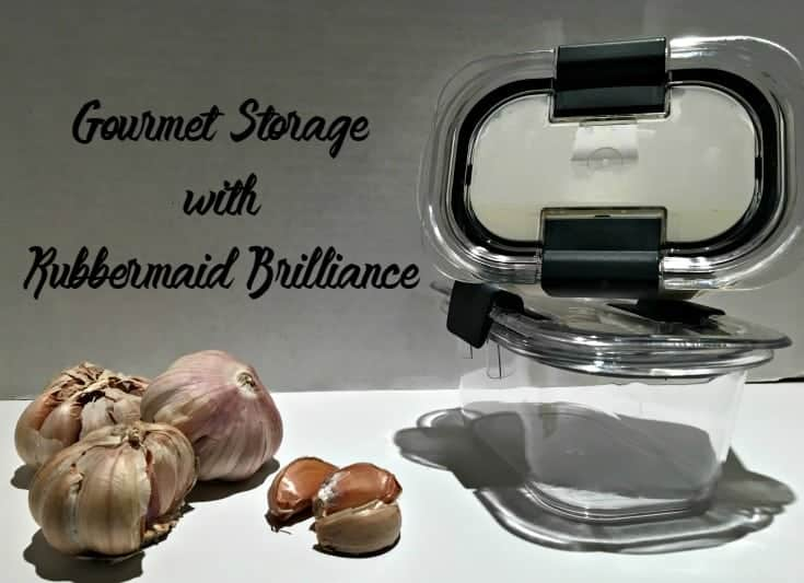 Storing Gourmet Garlic Soup in Rubbermaid brilliance storage containers