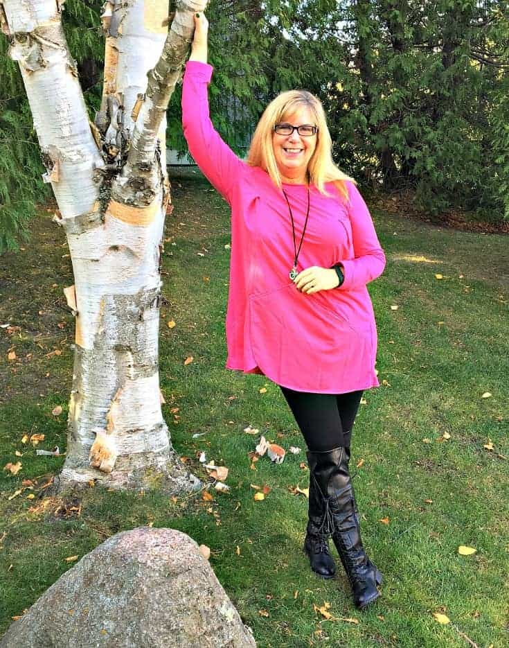 New Chic Fuschia Tunic and leggings, a camera necklace with Shoe dazzle OTK boots in Collingwood