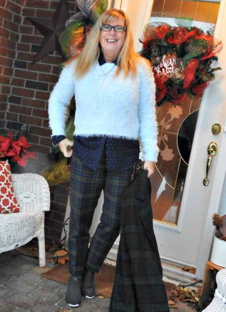 Forever 21 Plaid Coat and fuzzy sweater with a Target plaid pant and an Old Navy polka dor blouse. Add leopard gloves for fun and a Happiness Boutique necklace