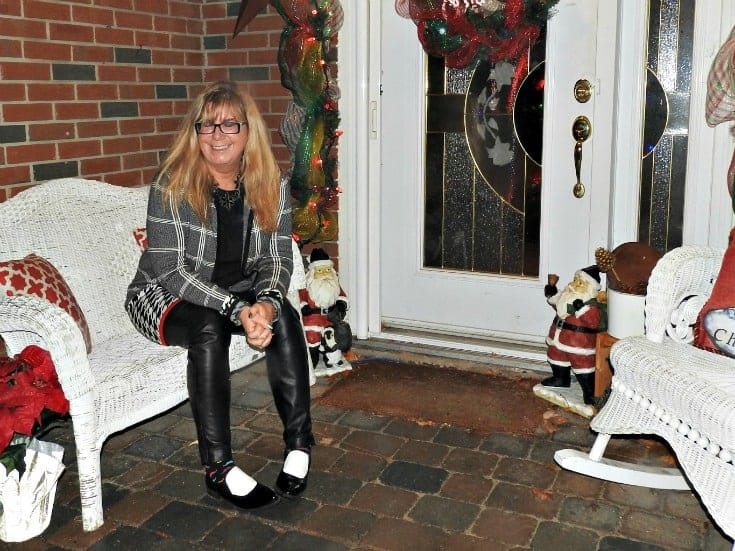 Laura Plaid sweater leather legginigs and sam edelman shoes with my Happiness Boutique floral necklace