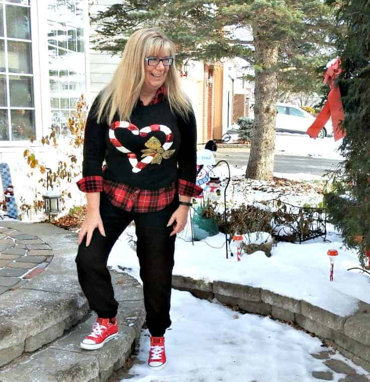 H&M Candy cane sweater and Old navy joggers with red converse.