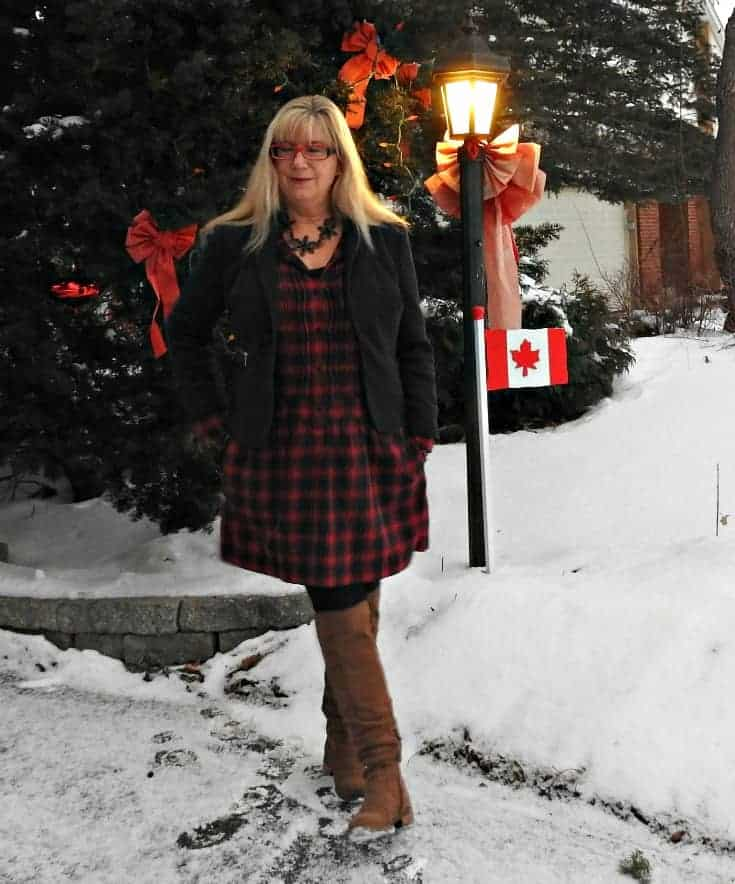 J Crew Plaid Dress and Shoe Dazzle Boots with a Happiness Boutique necklace