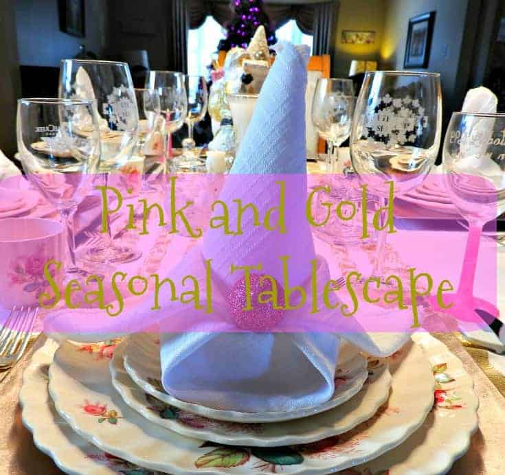 pink and gold seasonable tablescapes