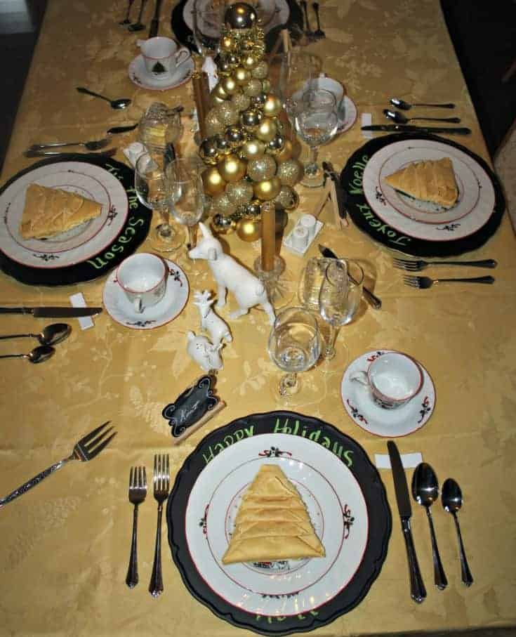 Gold and cream tablescape for the Christmas season