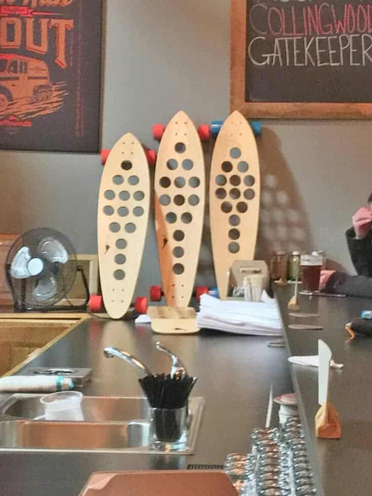 Inside the Northwinds Brewery and Kitchen in Collingwood and a skate of beer