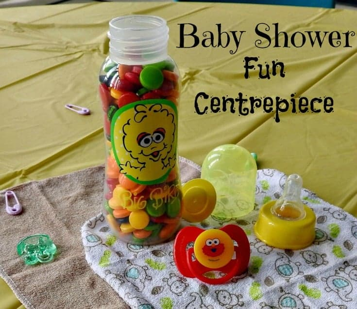 Baby Shower Centerpiece featuring baby bottles and sippy cups