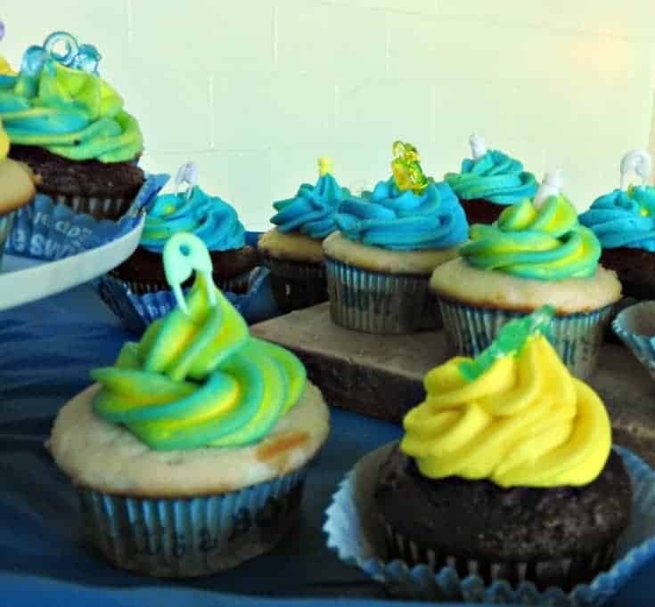 Rainbow buttercream frosting for a baby shower