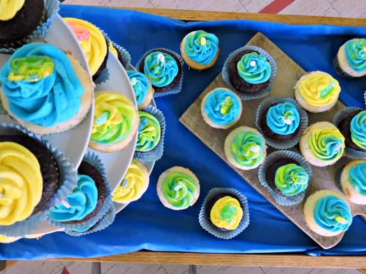 baby boy Nautical baby shower-cupcake display
