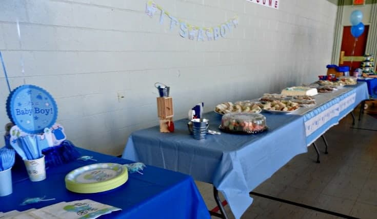 baby boy Nautical baby shower-food table
