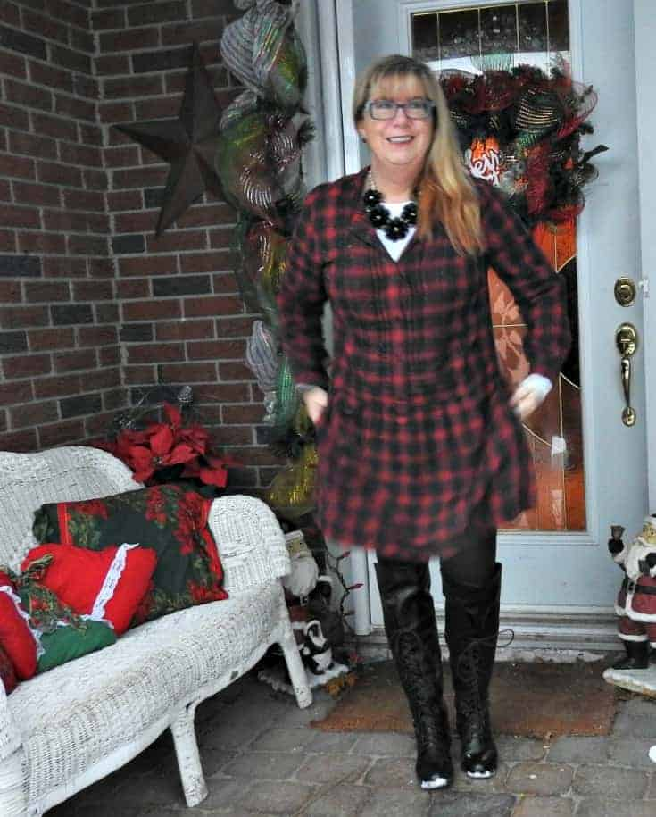 J Crew plaid dress and OTK tie up boots from Shoe Dazzle