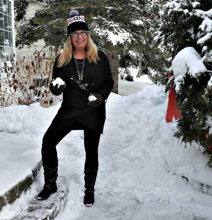 Studded boots and knit leggings from Giant Tiger with my 7 charming sisters necklace