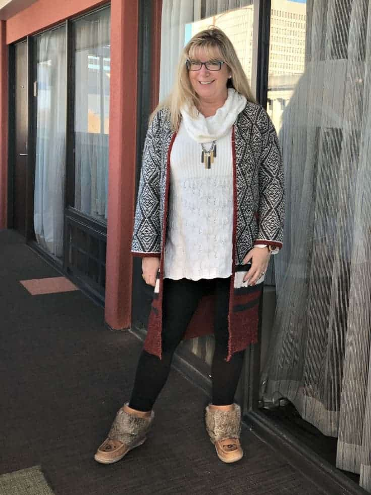 Shop svelte leggings a fun cardigan and fur boots with a 7 charming sisters necklace