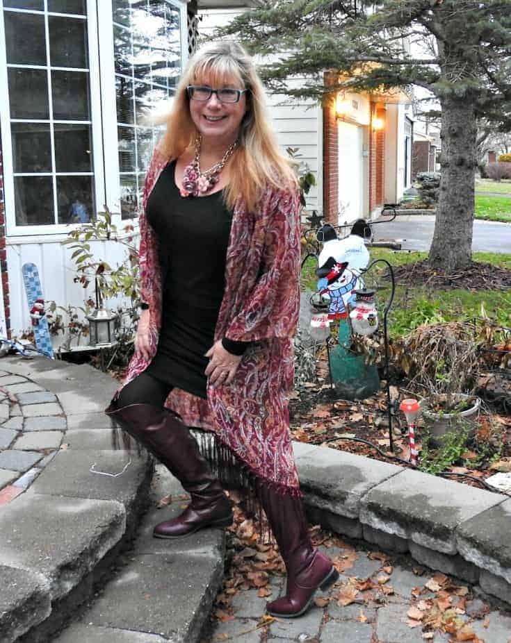 OTK merlot boots from shoe dazzle and a boho fringe kimono from Target