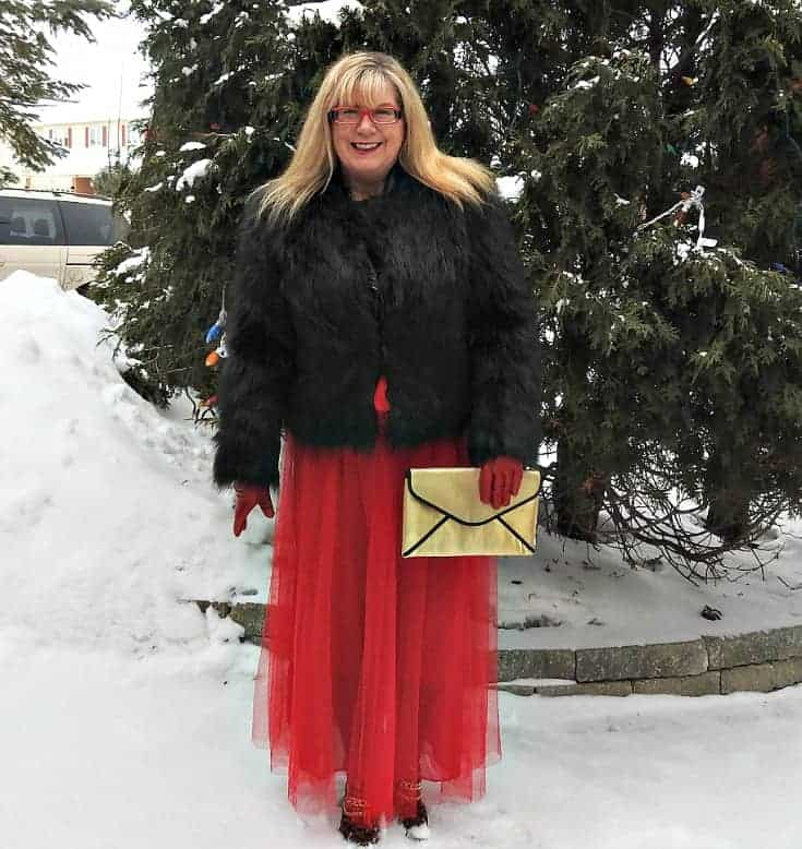 New Chic red tulle skirt with leopard boots and a fur coat