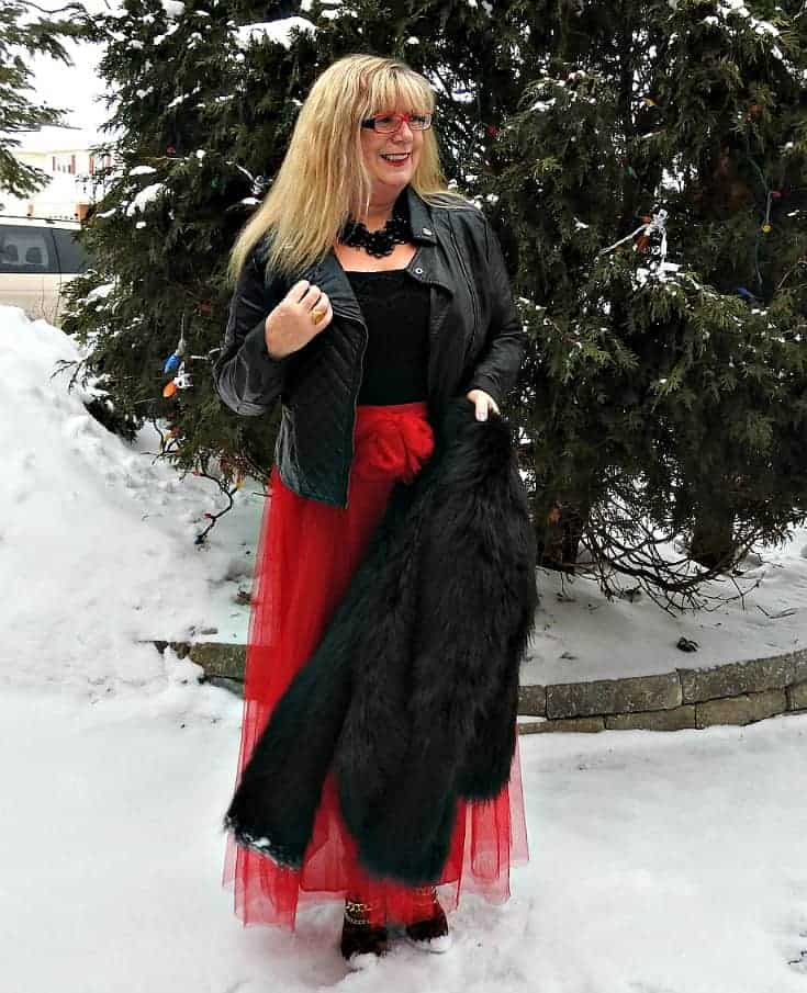New Chic red tulle skirt with leopard boots and a black moto jacket for an edgy looki