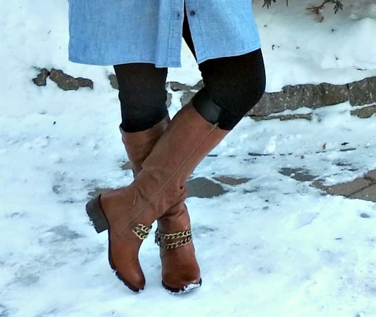 shoe dazzle tall boots with chain decor
