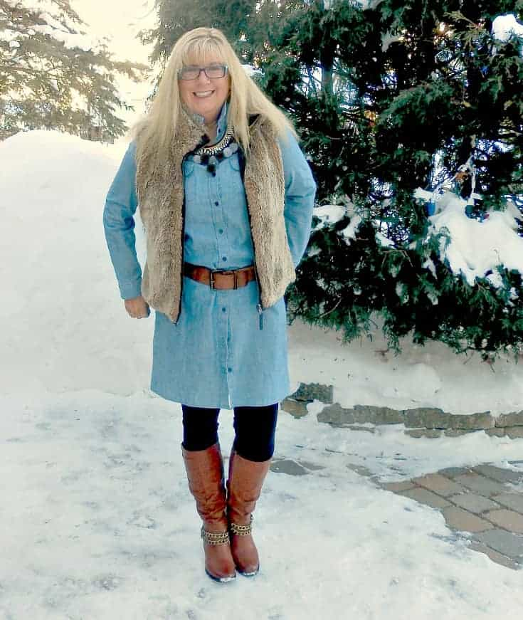 Chambray, leggings and fur still work as fashion over 50 especially with a fun statement necklace