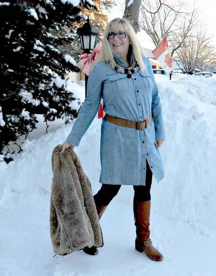 Chambray, leggings and fur still work as fashion over 50 especially with a shoe dazzle tall boots