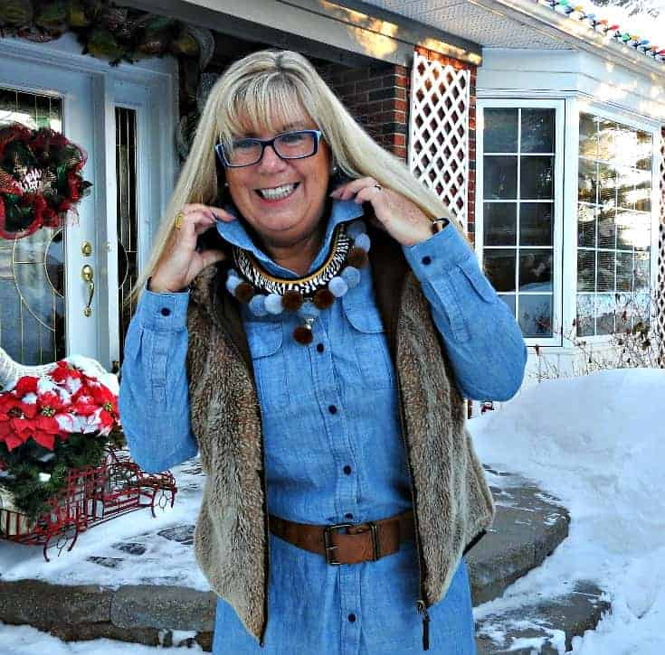 Chambray, leggings and fur still work as fashion over 50 especially with a pompom necklace