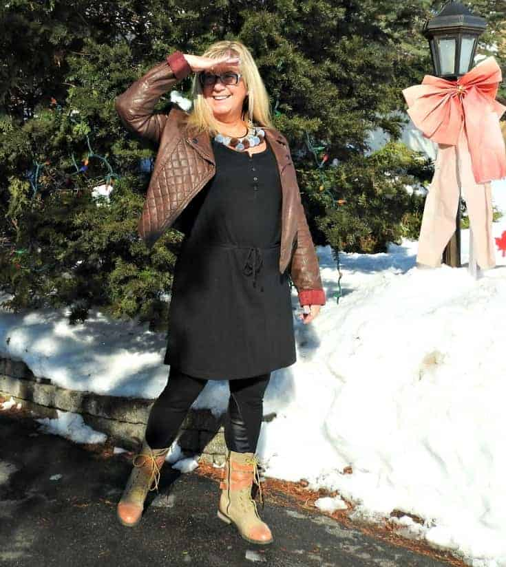 Giant tiger lace up boots with svelte leggings, a moto jacket and a pom pom necklace from 7 Charming sisters