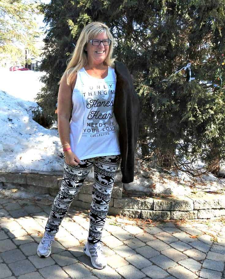 wearing a tank with aztec leggings