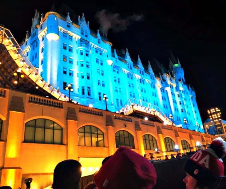 Chateau Laurier and the Red Bull Crashed Ice Track at Night