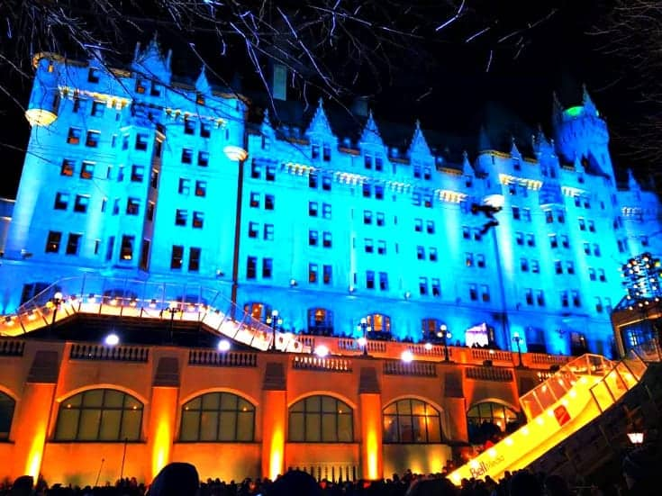 Chateau Laurier and the Red Bull Crashed Ice Track at night in 2017