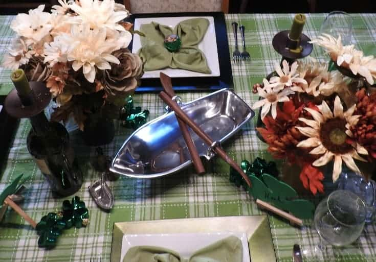 holiday tablescape in Green