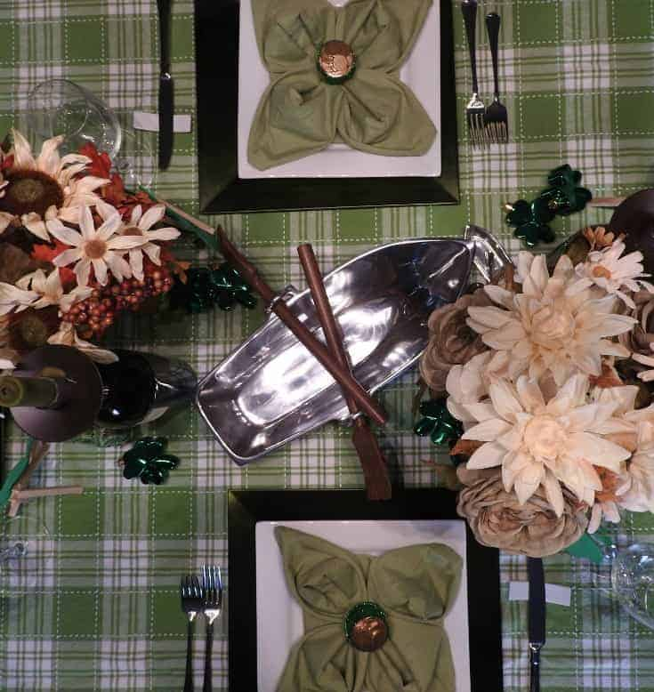 Green Table setting for St Patricks Day