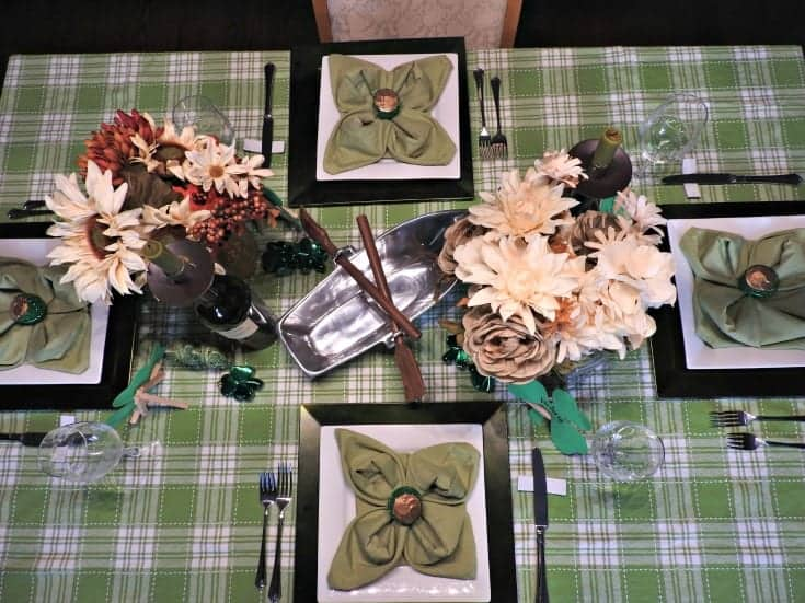St Patricks Day tablescape with a silver boat