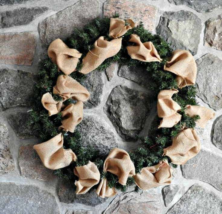 Wreath with a base of burlap