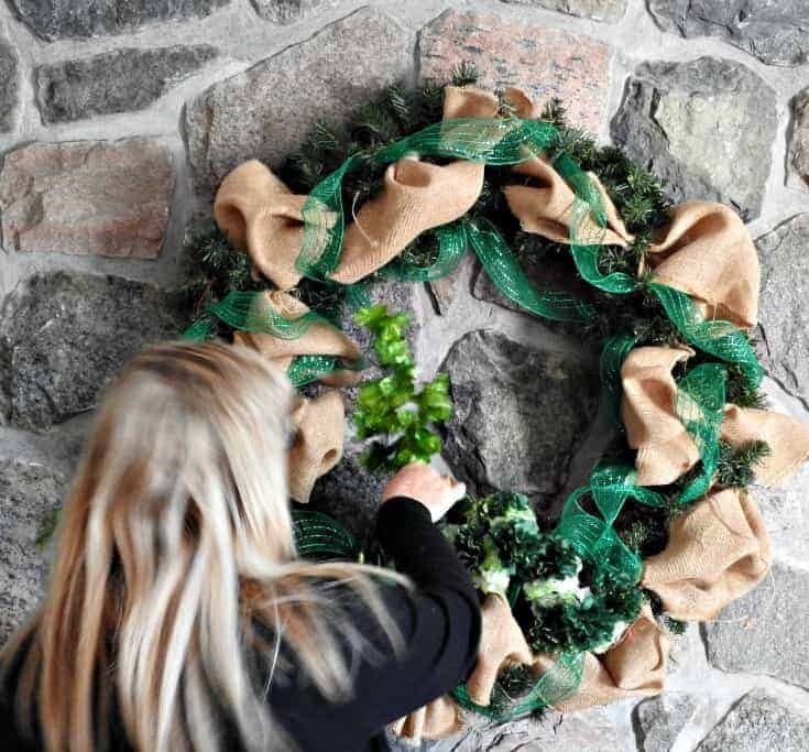 adding shamrocks and glitter to my st pats wreath
