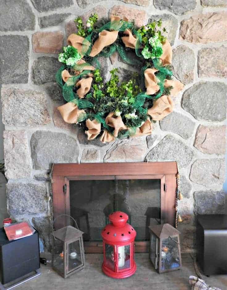fireplace St Patricks day wreath