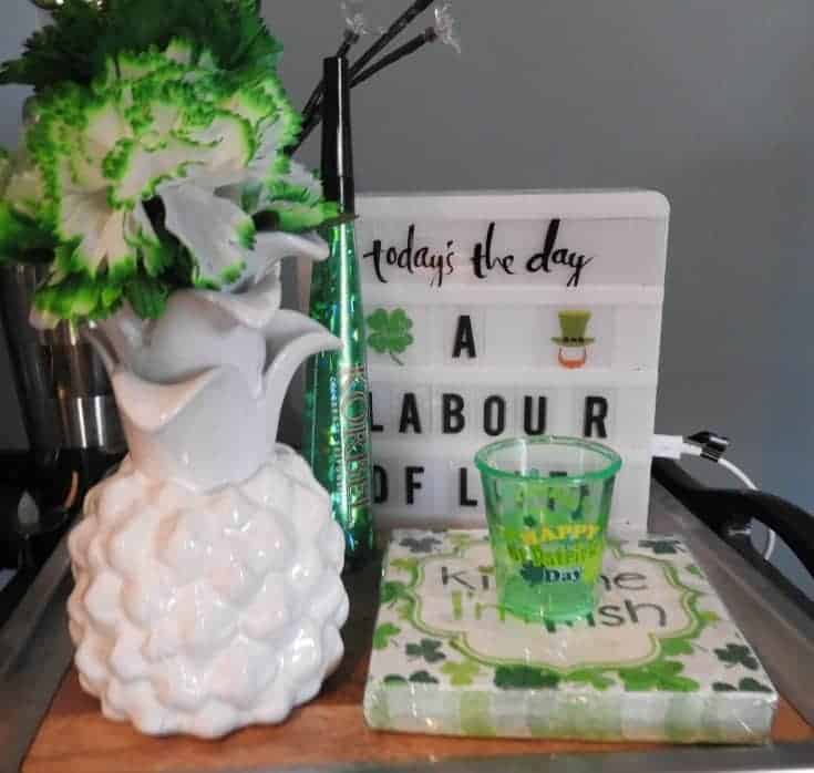 St Patrick's Day Bar Cart and a fun sign