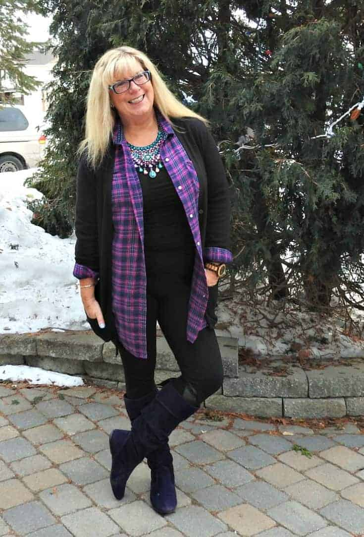 Svelte leggings made for travel with Giant Tiger boots and a Flannel Old Navy Shirt