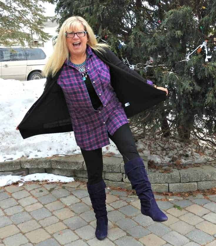 old navy flannel and giant tiger boots for travel