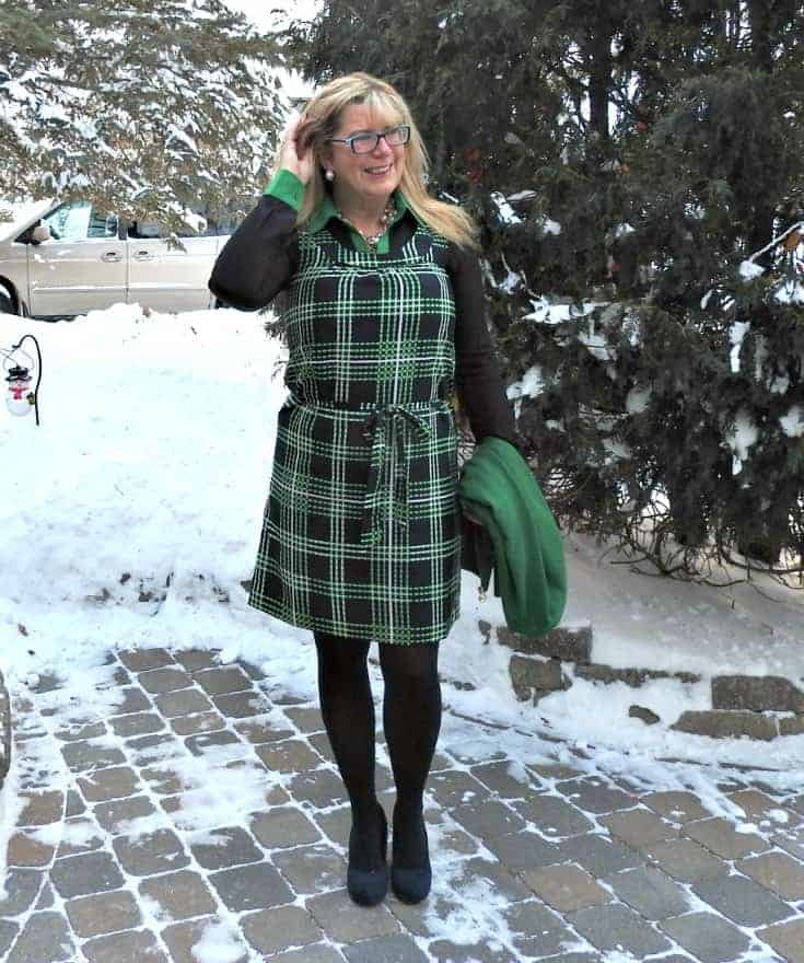 Banana Republic plaid dress in green and navy with a navy and green MK Blouse and navy wedges