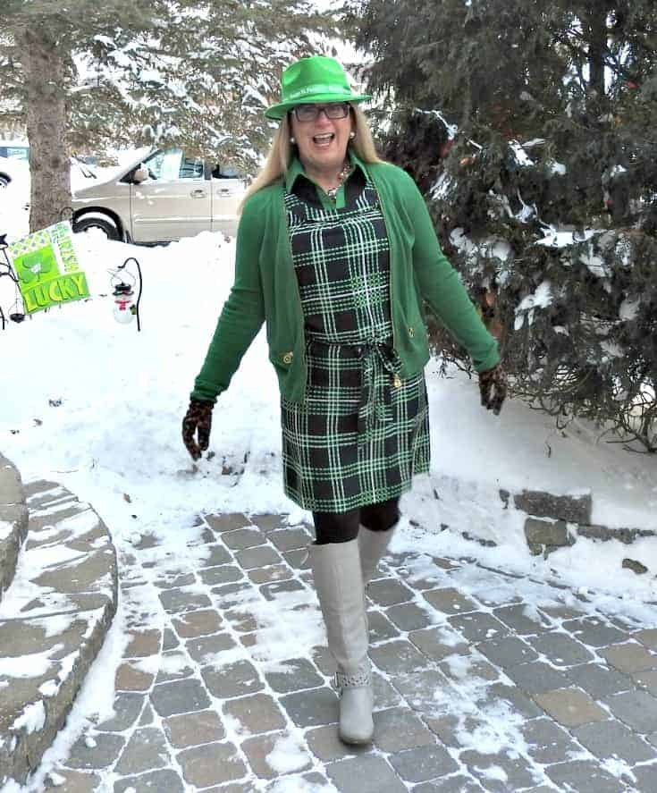 Banana Republic plaid dress in green and navy with a green MK Sweater and shoe dazzle boots