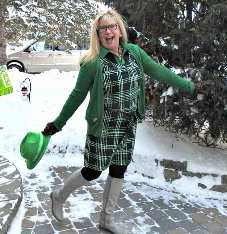 Banana Republic plaid dress in green and navy with a MK Sweater and shoe dazzle boots and fedora