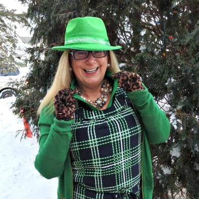 Happy St Patricks Day in Plaid and Kelly Green