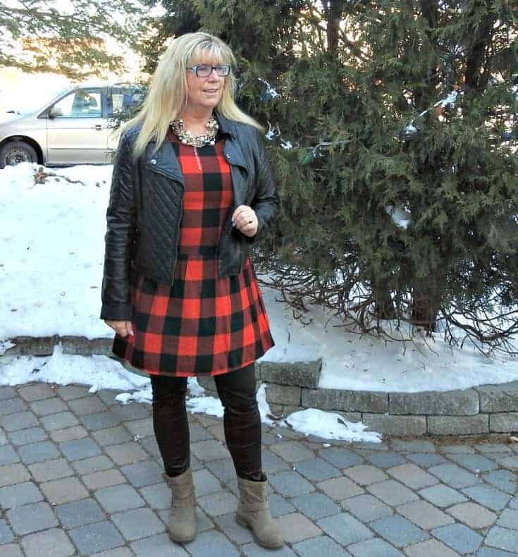 Buffalo check Dress from Old Navy with leather leggings and 7 charming sisters pearl necklace