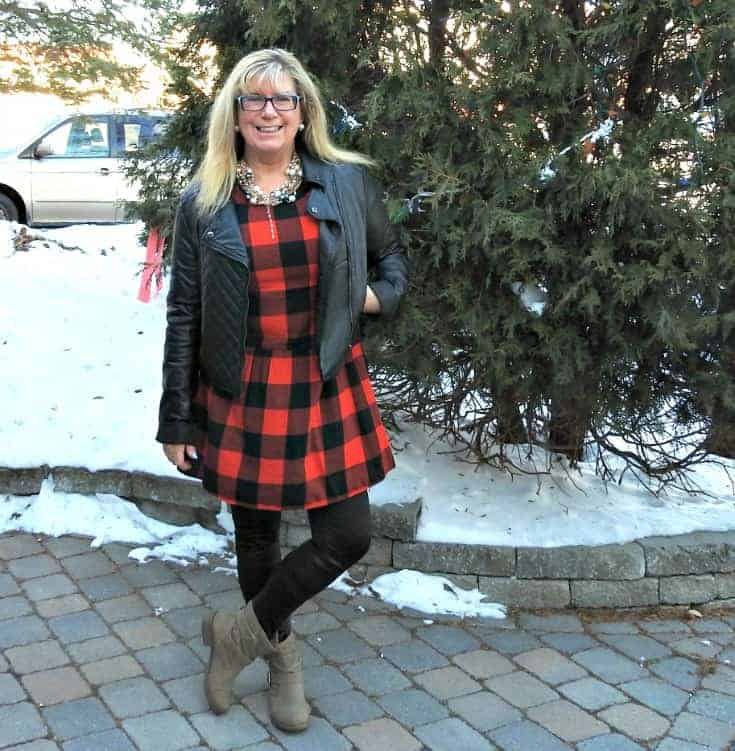 Buffalo check Dress from Old Navy with leather leggings and a moto