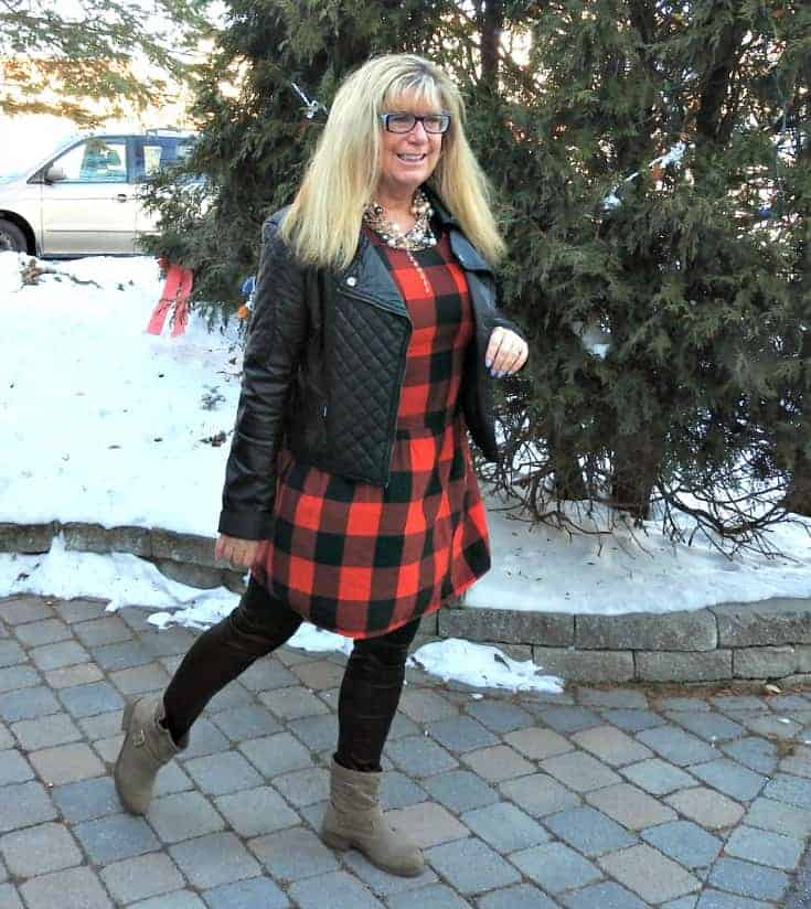 Buffalo check Dress from Old Navy with leather leggings and taupe booties