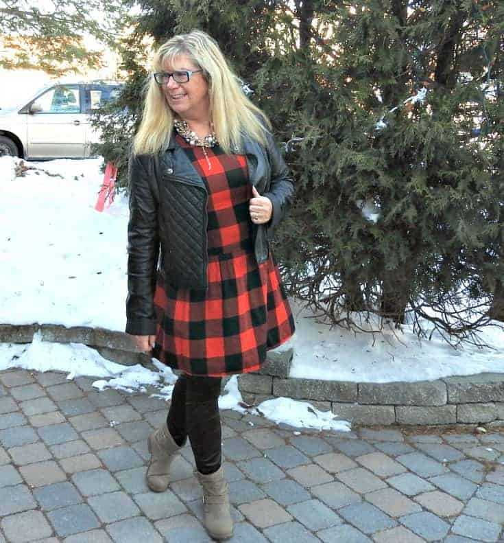 Buffalo check Dress from Old Navy with leather leggings and a black moto
