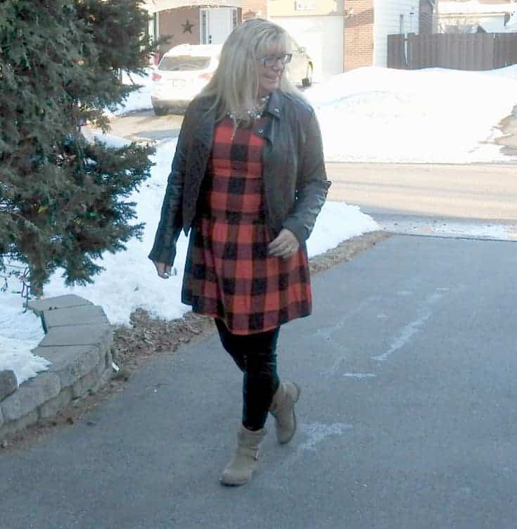 Buffalo check Dress from Old Navy with leather leggings and leather moto
