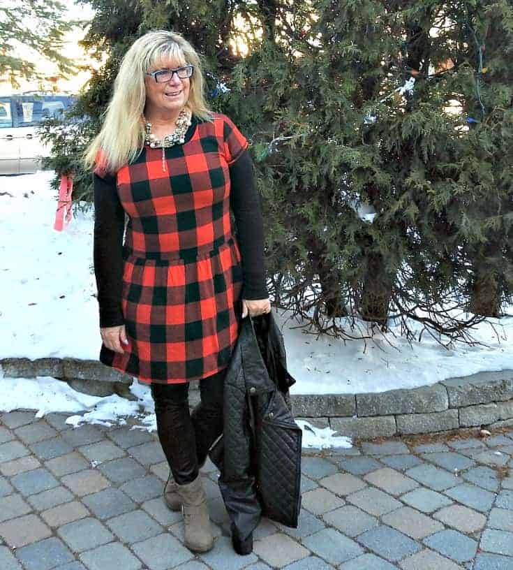 Buffalo check Dress from Old Navy with leather leggings and 7 charming sisters pearl necklace with a moto