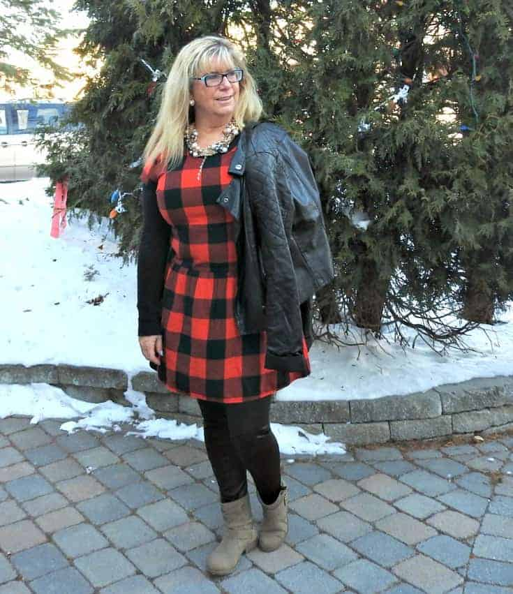 Buffalo check Dress from Old Navy and 7 charming sisters pearl necklace